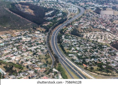 Aerial view of a highway system in Cape Town, South Africa