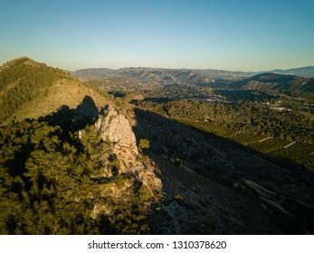 Aerial view of hiking trail Penia San Diego in Valencia, Spain.