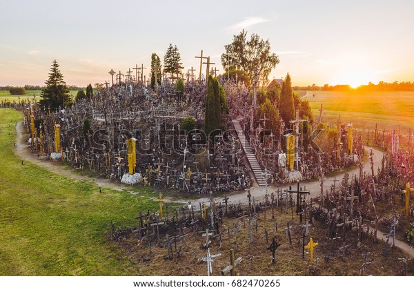 aerial view of Hill of Crosses (KRYZIU KALNAS). It is a famous religious site of catholic pilgrimage in Lithuania