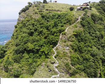 Aerial view of a hill in Nusa Penida beach Bali Indonesia