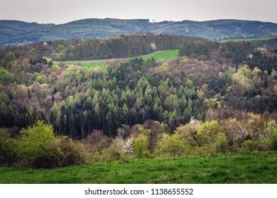Aerial view from hills near Zlin city in Czech Republic