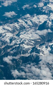 Aerial view of the Himalayas from airplane