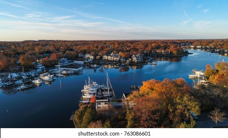 An aerial view of historic Annapolis, situated on the Chesapeake Bay, during an early November morning.