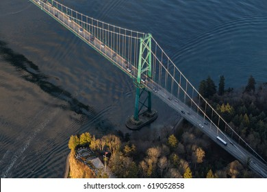 Aerial view of the Historic Bridge Lions Gate in Stanley Park, Vancouver, BC, Canada.