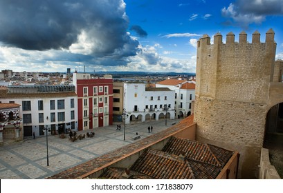 Aerial view of Historic buildings at High Square or Plaza Alta of Badajoz, Extremadura, Spain