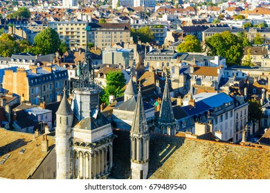 An aerial view of the historic center of the city, with Notre-Dame church, in Dijon, Burgundy, France