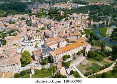 Aerial view of historic centre of Besalu with Romanesque bridge over Fluvia river, Catalonia, Spain