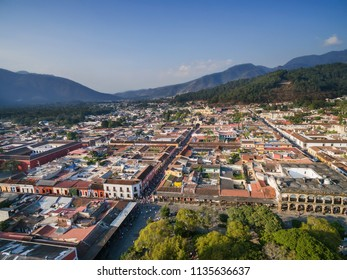An aerial view of the historic city of Antigua Guatemala in Guatemala, Central America.