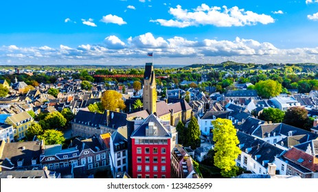 Aerial view of the historic city of Maastricht in the Netherlands as seen from the tower of the Sint Janskerk (St.John Church) which is at the Vrijthof square in the center of the city