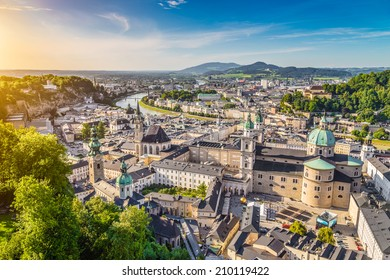 Aerial view of the historic city of Salzburg at sunset, Salzburger Land, Austria