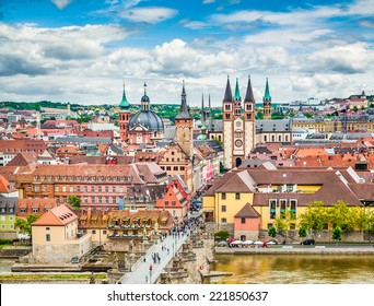 Aerial view of the historic city of Wurzburg with Alte Mainbrucke, region of Franconia, Northern Bavaria, Germany