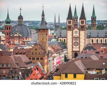Aerial view of the historic city of Wurzburg, region of Franconia, Northern Bavaria, Germany