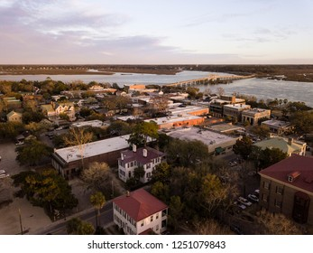 Aerial view of historic district of Beaufort, South Carolina at the golden hour.