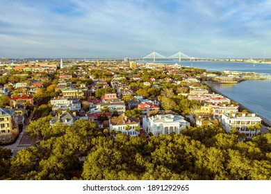 Aerial view of historic downtown Charleston SC