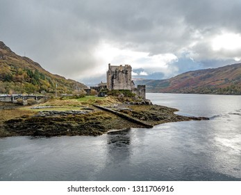 Aerial view of the historic Eilean Donan Castle , Scotland.