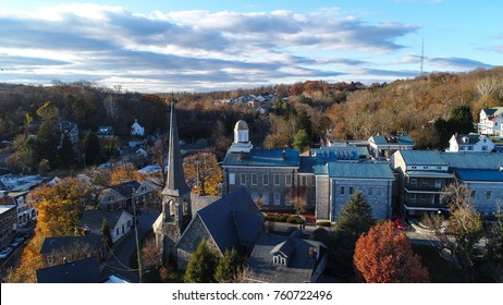 An aerial view of historic Ellicott City, Maryland in the fall.