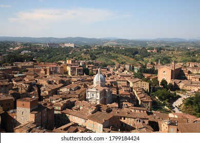 Aerial view of historic medieval  Siena city in  Siena, Tuscany, Italy