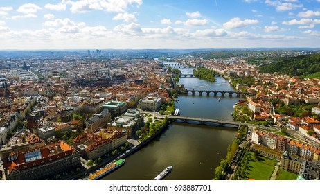 Aerial View Of Historic Old Town Gothic Prague Cityscape In Czech Republic