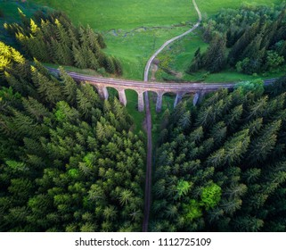 Aerial view of historic railway viaduct situated in the forest near Telgart in Slovakia