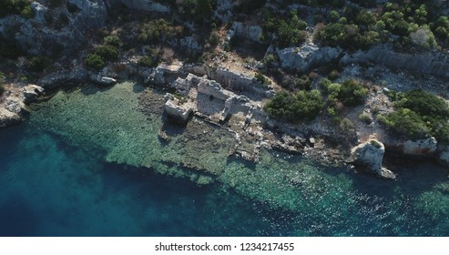 Aerial view of historic rocks in the ancient city of 'Simena' in the 'Kekova' town/Antalya-TURKEY