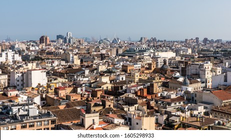 aerial view of historic roofs in valencia spain