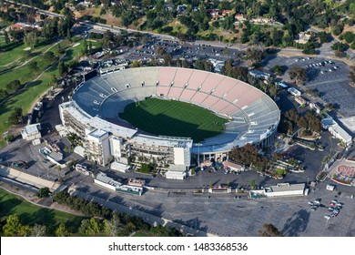 Aerial view of the historic Rose Bowl Stadium near Los Angeles on April 12, 2017 in Pasadena, California, USA.
