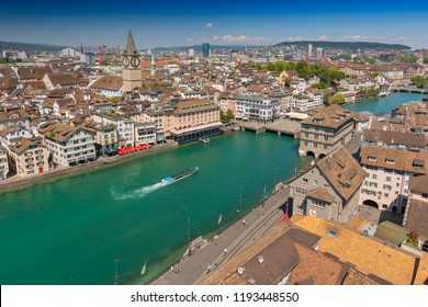 Aerial view of historic town centre of Zurich with the Muenster Bridge and Fraumuenster Church along Limmat river, Zurich, Switzerland.