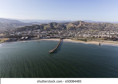 Aerial view of historic Ventura Pier and the Pacific Ocean in Southern California.