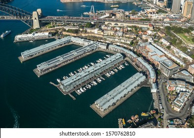 Aerial view of historic Walsh bay barracks with hotels, residential and commercial property. Sydney suburbs aerial view cityscape