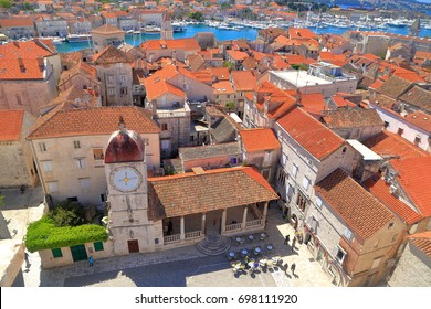 Aerial view to historical buildings from the old town of Trogir, Croatia