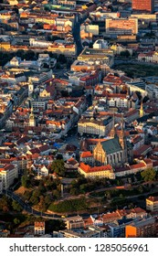 Aerial view of historical center of Brno in Czech Republic. Cathedral of St Peter and Paul in Brno.