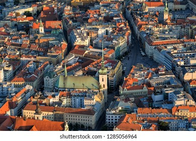 Aerial view of historical center of Brno in Czech Republic.