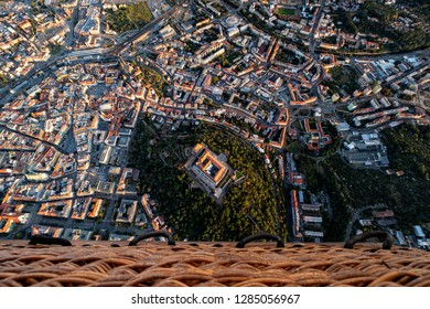 Aerial view of historical center of Brno in Czech Republic viewed from hot air baloon.
