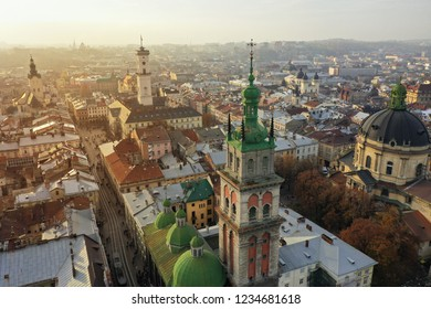 Aerial view of the historical center of Lviv, Ukraine. UNESCO's cultural heritage. Shooting with drone
