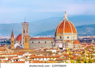 Aerial view of historical medieval buildings with Duomo Santa Maria Del Fiore dome in old town of Florence, Italy