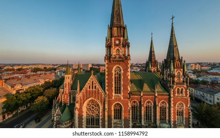 Aerial view of historical old city district of Lviv, Ukraine.Church of saints olga and elizabeth in Lviv