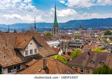 Aerial view of the historical part of the city on a sunny day. Zurich. Switzerland.