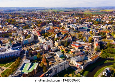 Aerial view of historical Silesian city of Opava on sunny autumn day, Czech Republic..