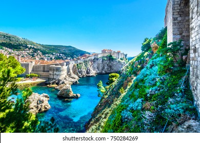 Aerial view at historical town Dubrovnik in Croatia, world's famous travel place, Adriatic Sea.