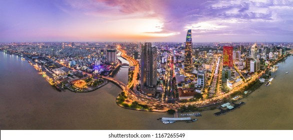 Aerial view of Ho Chi Minh city, Vietnam. Beauty skyscrapers along river light smooth down urban development in Ho Chi Minh City, Vietnam.