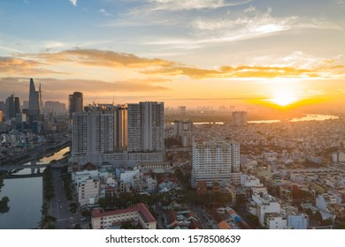 Aerial view of Ho Chi Minh city under sunset sky