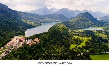 Aerial view of Hohenschwangau Castle, Germany.