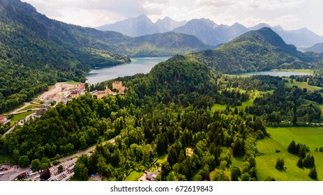Aerial view of Hohenschwangau Castle, Germany.