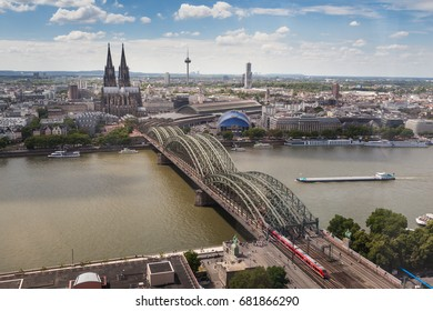 Aerial view of Hohenzollern Bridge and Cologne cathedral