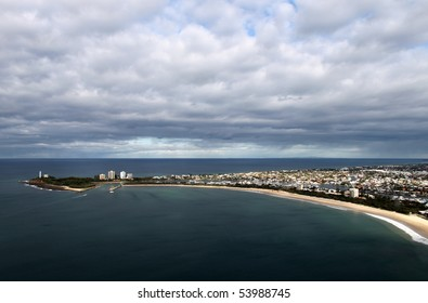Aerial view of Holiday area of Mooloolaba and Point Cartwright, Sunshine Coast Queensland Australia