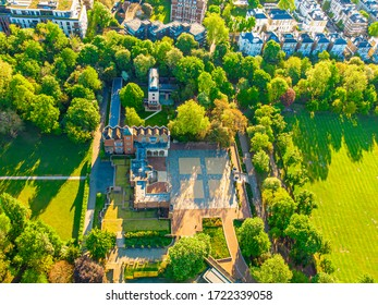 Aerial view of Holland park in the morning, London, UK