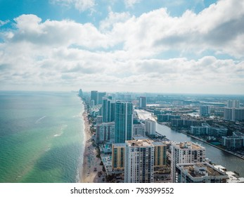 Aerial view to Hollywood beach, Fl