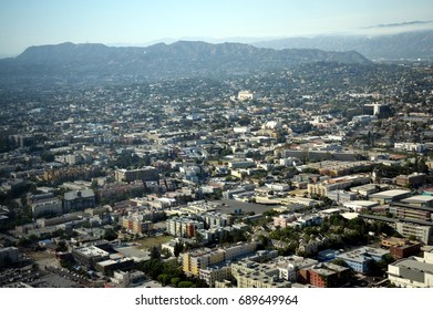 An aerial view of Hollywood as seen from the northern part of downtown Los Angeles.