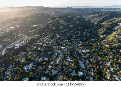 Aerial view of Holmby Hills and Benedict Canyon areas in Beverly Hills and Los Angeles, California.