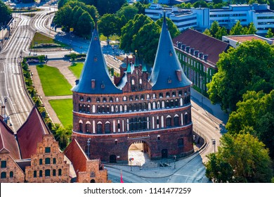Aerial view of the Holsten Gate (German: Holstentor) in Luebeck, Germany. It is the most significant gate of the Middle Ages in Germany. It was constructed from 1464-1478 as a town gate.